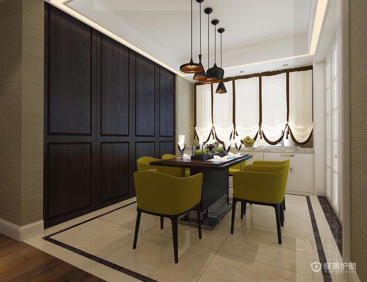 130平现代风格三房餐厅装修效果图