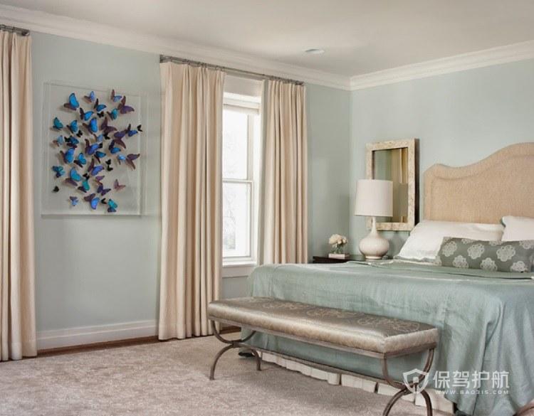淡雅卧室北欧风米白色窗帘装修效果图…