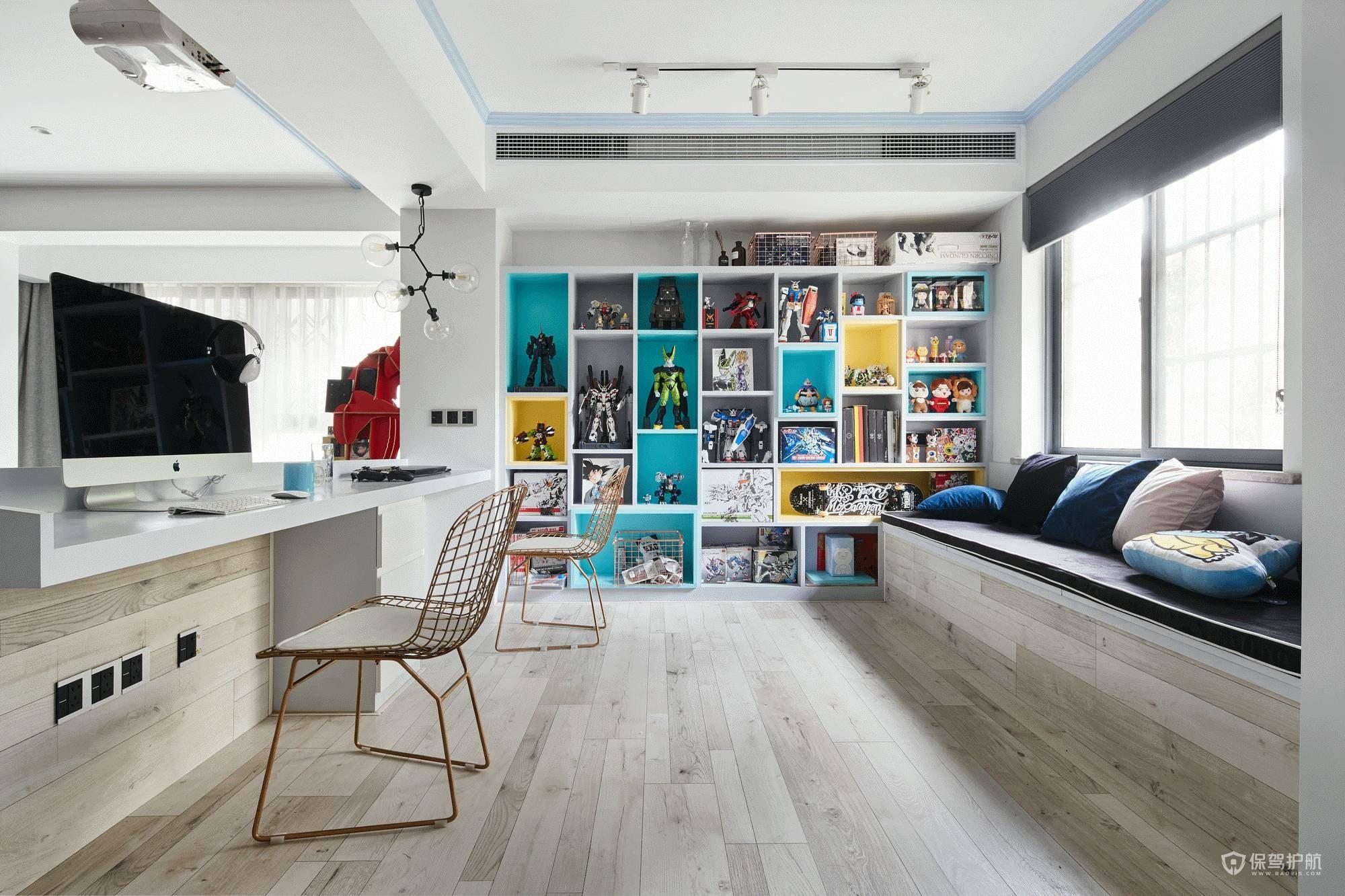 北欧混搭风三居室书房装修效果图
