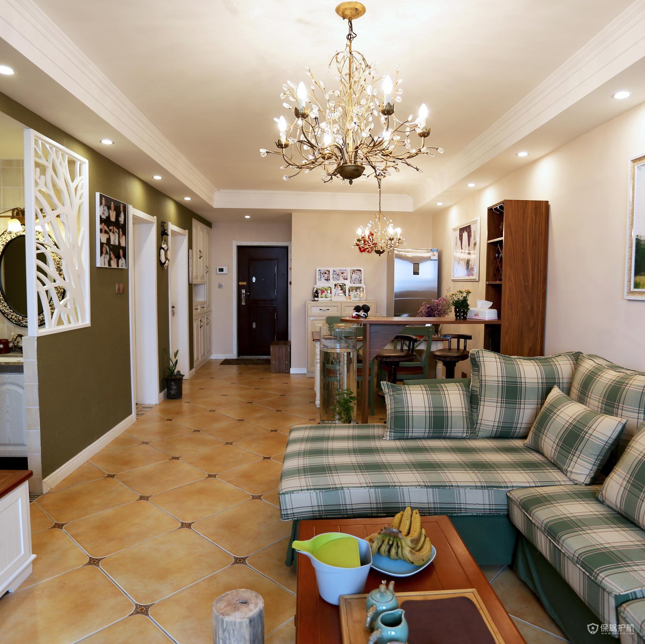 美式田园风二居室客厅装修效果图