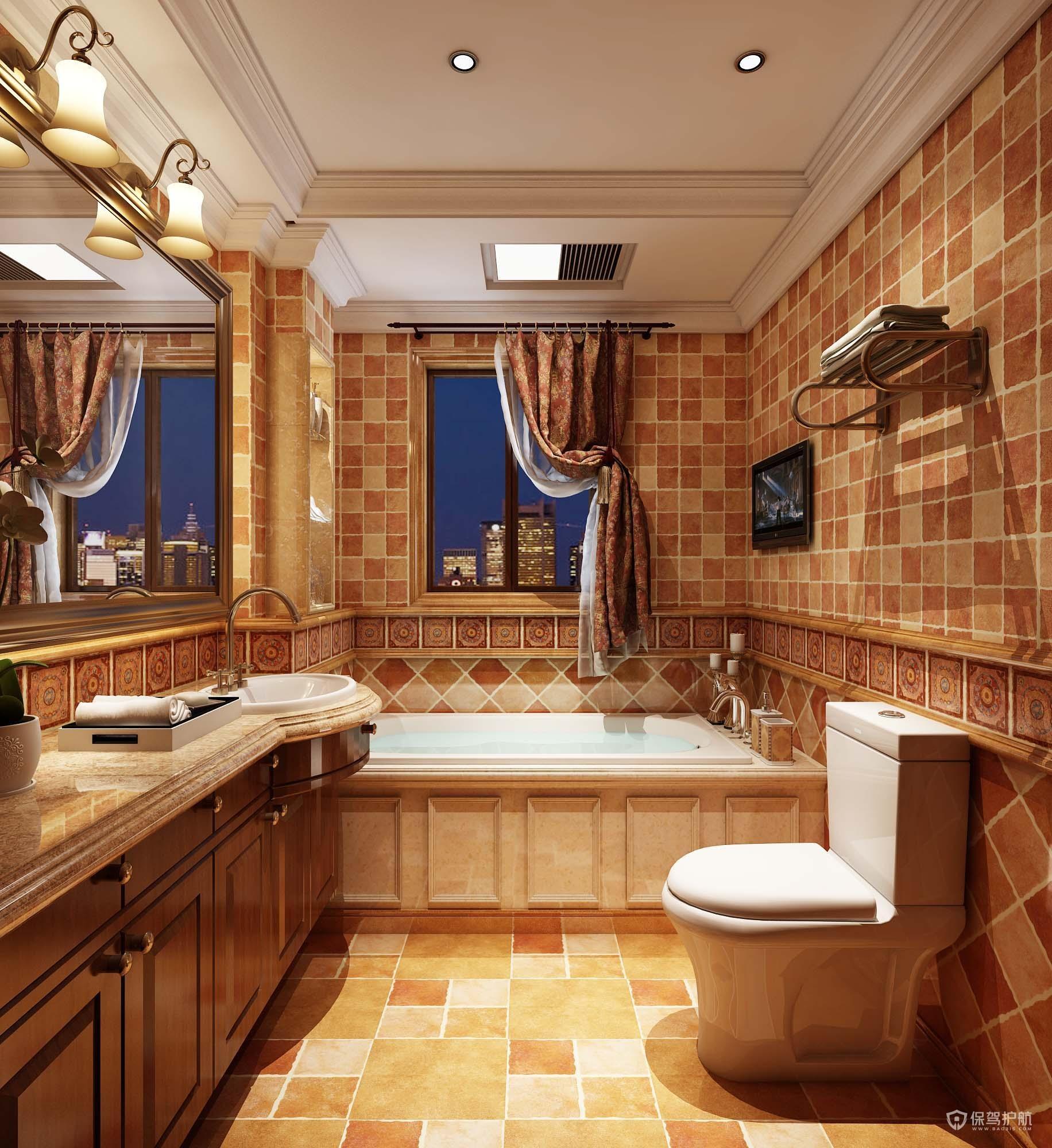 美式豪华别墅卫生间装修效果图