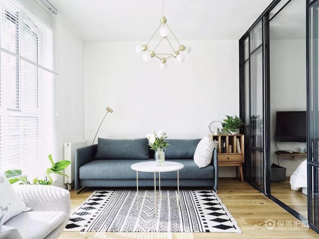 北欧简约风单身公寓客厅装修效果图