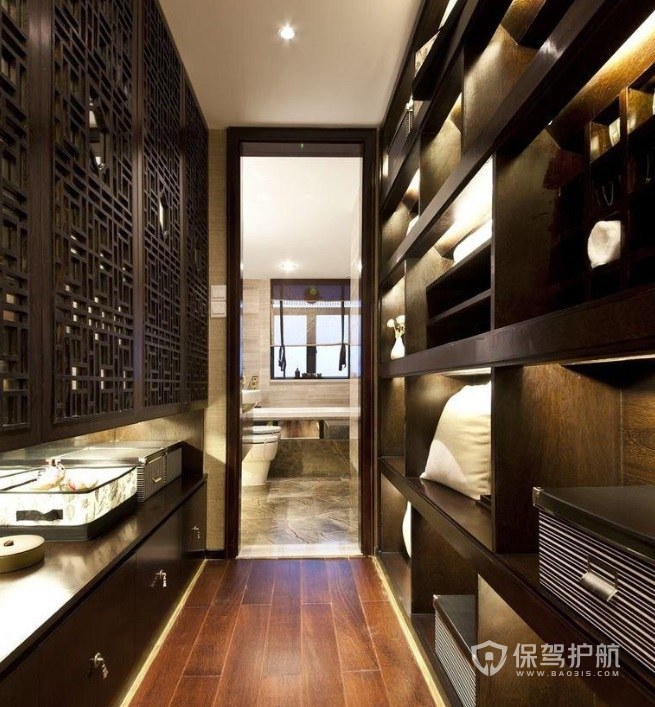 中式古典风衣帽间组合柜装修效果图