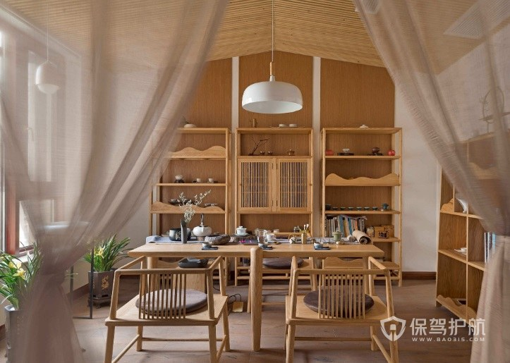 新中式茶室置物架装修效果图