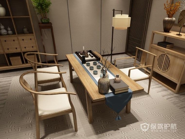 新中式风格茶室地毯装修效果图