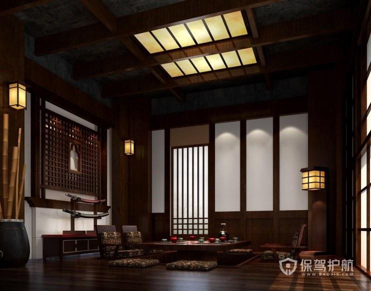 日式古典风茶室吊顶装修效果图