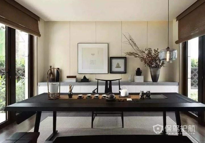 中式古风茶室窗户卷帘装修效果图