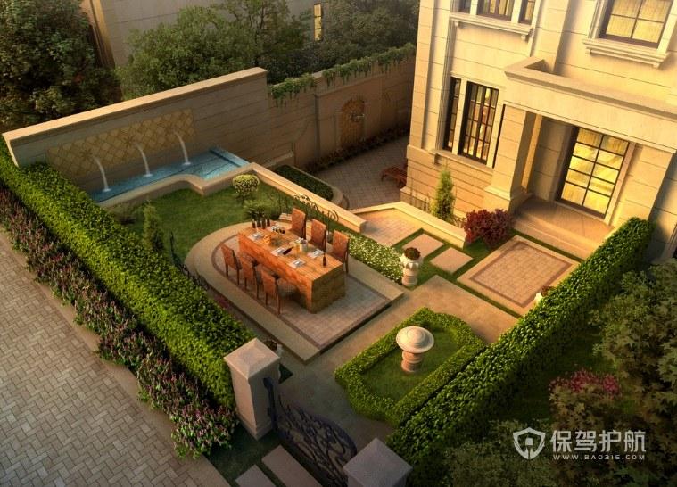 欧式别墅下沉式庭院景观装修效果图