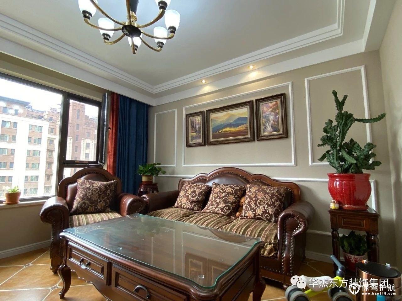 128㎡美式风格三居室装修效果图