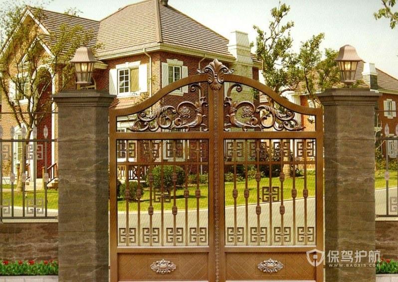 欧式别墅庭院复古铁门装修效果图