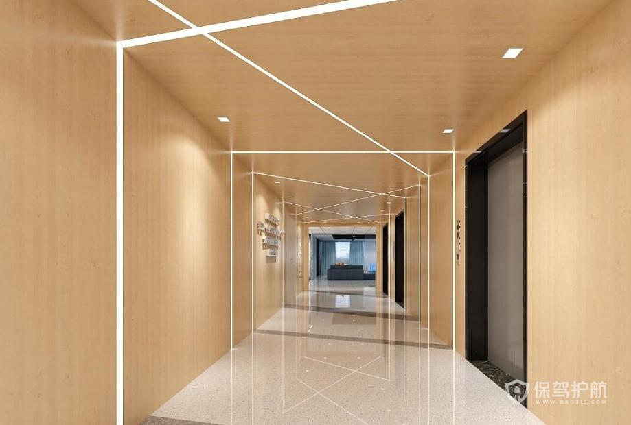 原木风格办公走廊装修效果图
