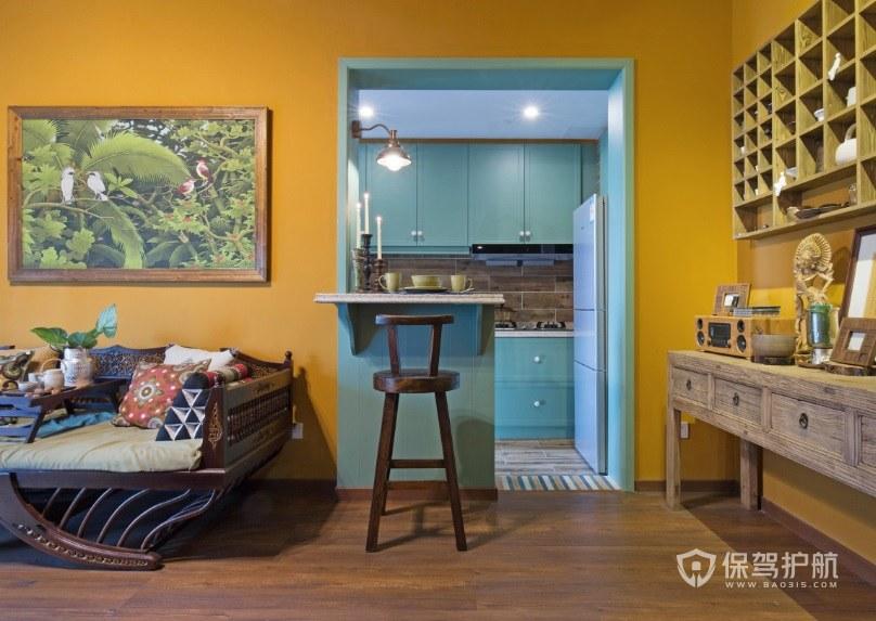 法式复古风厨房吧台装修效果图