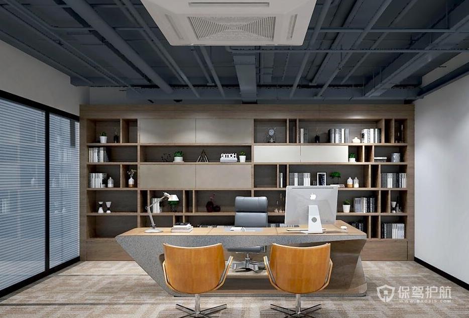 原木风格老板办公室装修效果图