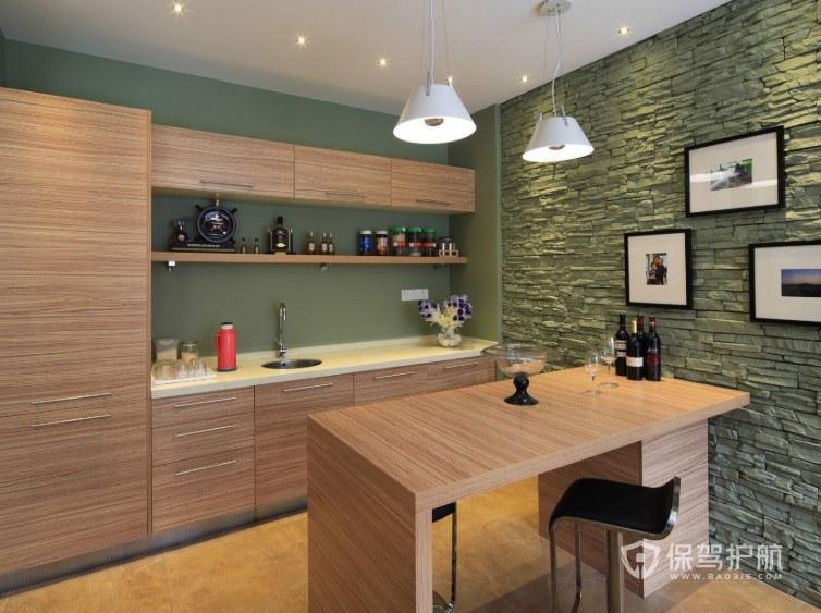 公寓餐厅木制小吧台装修效果图
