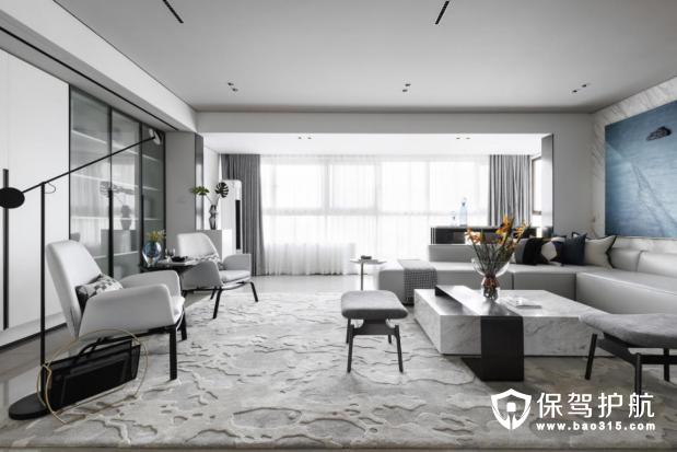 128平现代风格三居室装修效果图