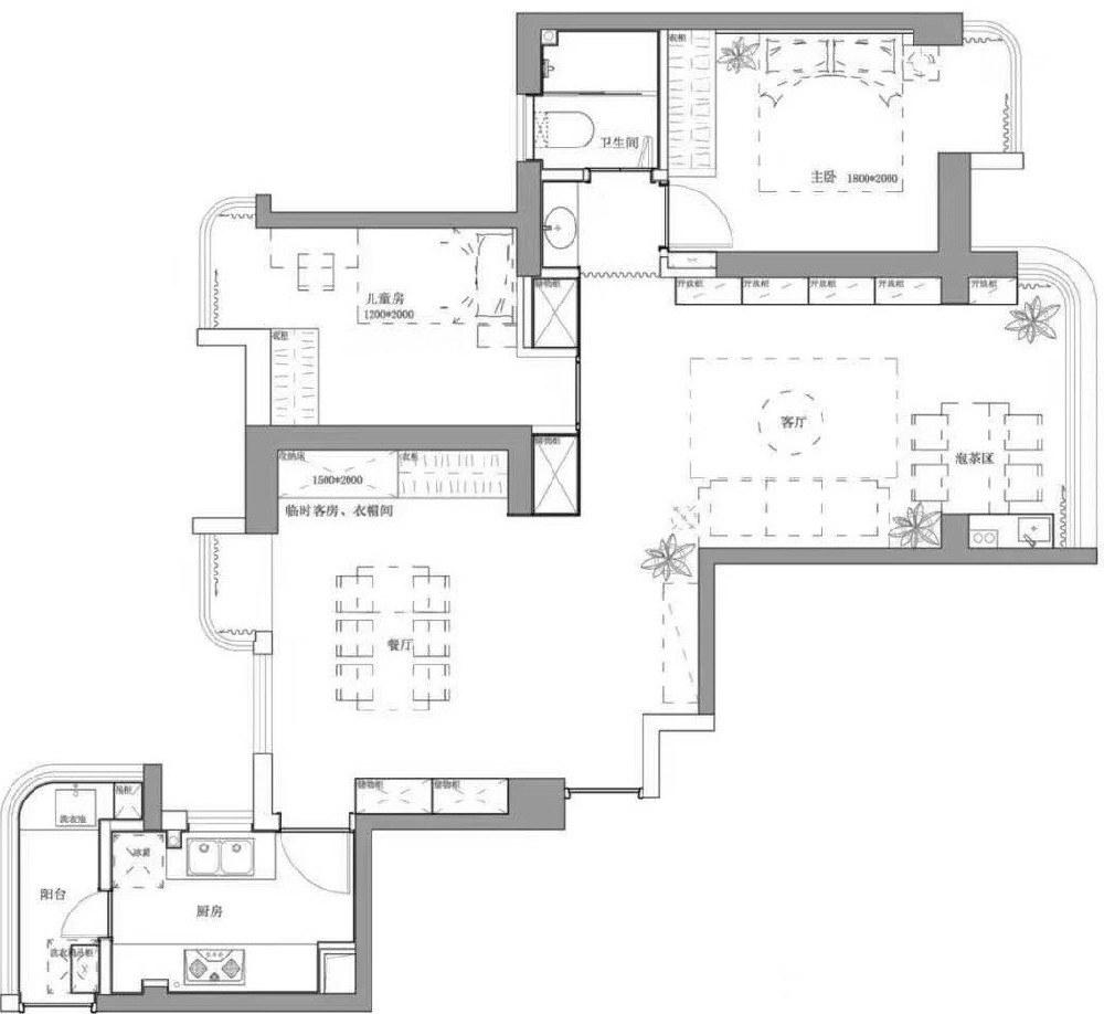 圣荣广场北欧混搭三居室装修效果图