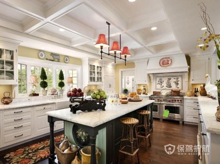 豪华别墅欧式厨房吧台装修效果图