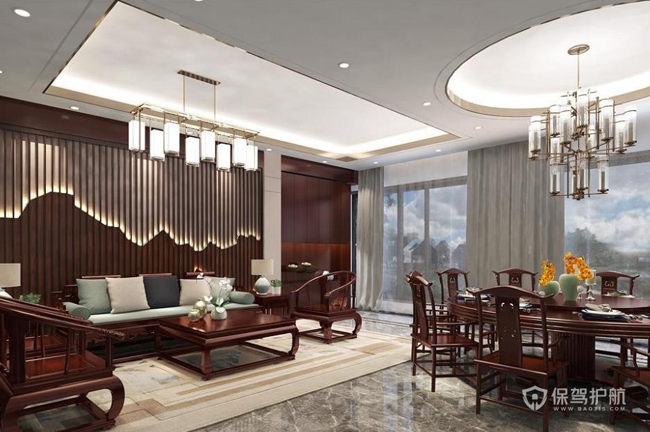 新中式公司待客室装修效果图