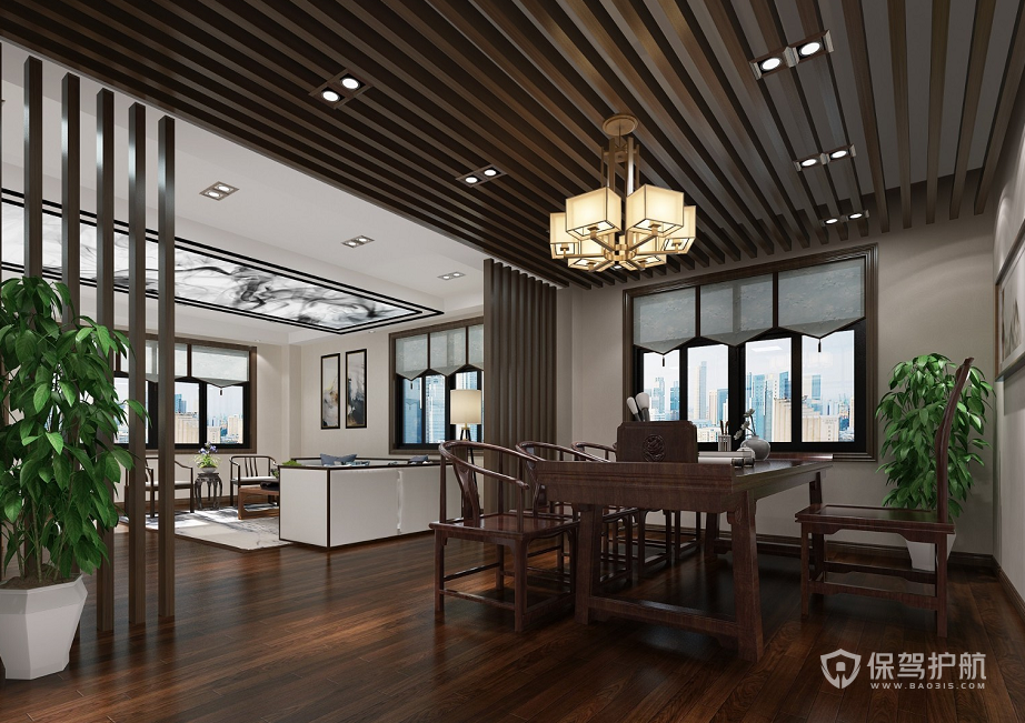 新中式大户型领导办公室装修效果图