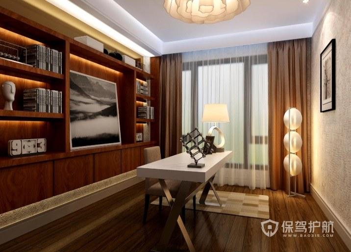 现代中式书房创意灯架装修效果图