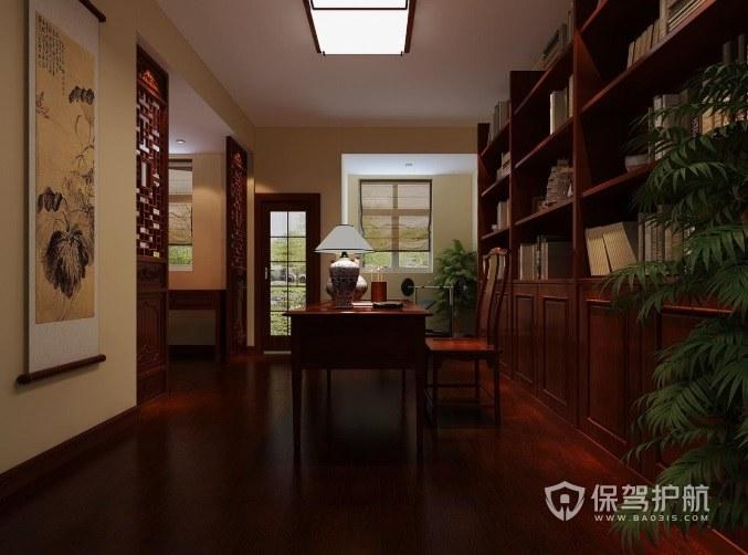 中式古典风书房吸顶灯装修效果图