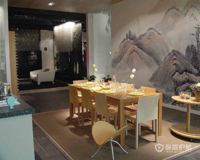 简约中式餐厅水墨画装修效果图