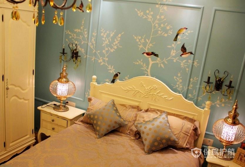 法式典雅风卧室手绘背景墙装修效果图…
