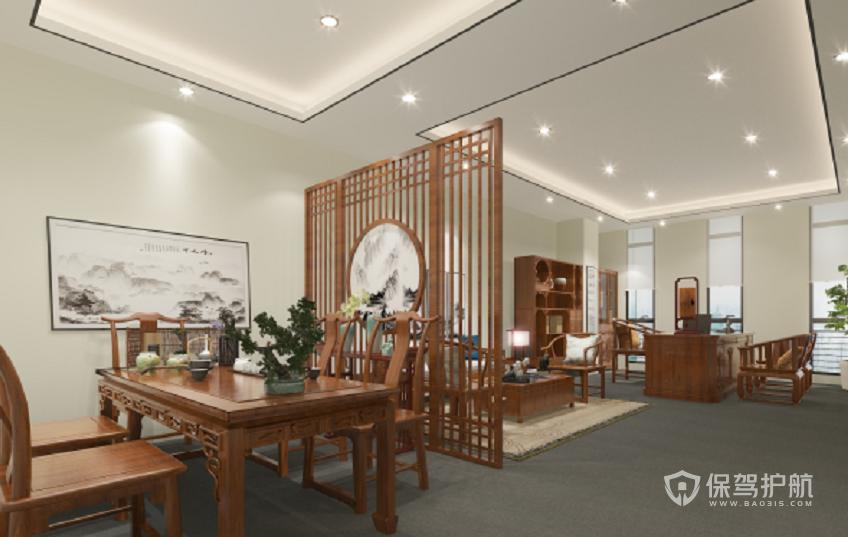 轻中式风格领导办公室装修效果图