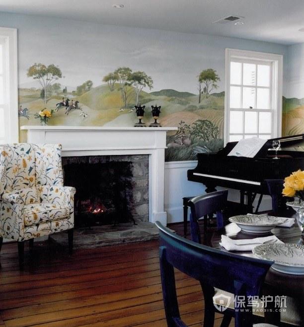 美式田园风客厅手绘墙画装修效果图