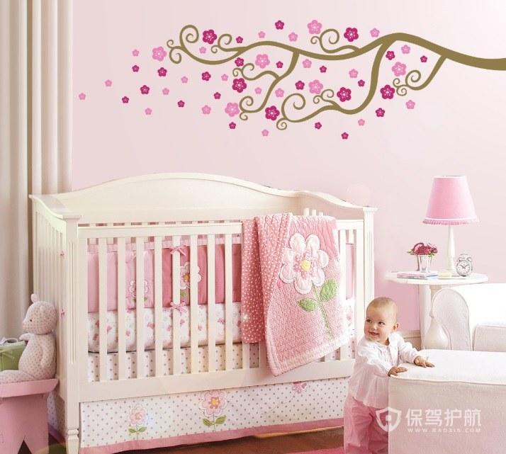 粉色系婴儿房手绘墙画装修效果图