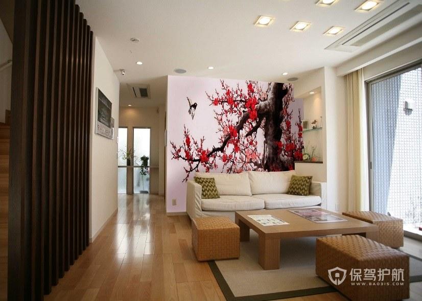 日式风客厅手绘背景墙画装修效果图