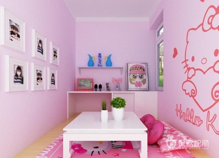 儿童房可爱风手绘墙面装修效果图