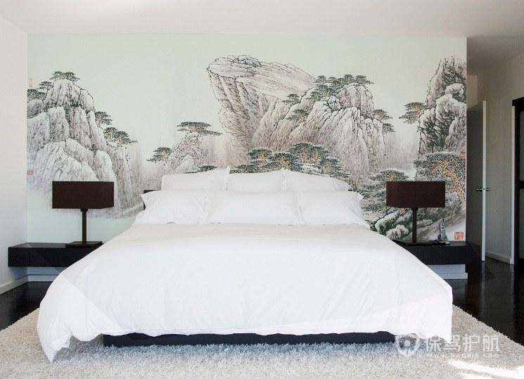 新中式卧室手绘背景墙装修效果图