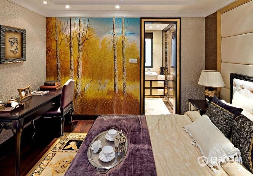 豪华欧式卧室手绘风景墙画装修效果图…