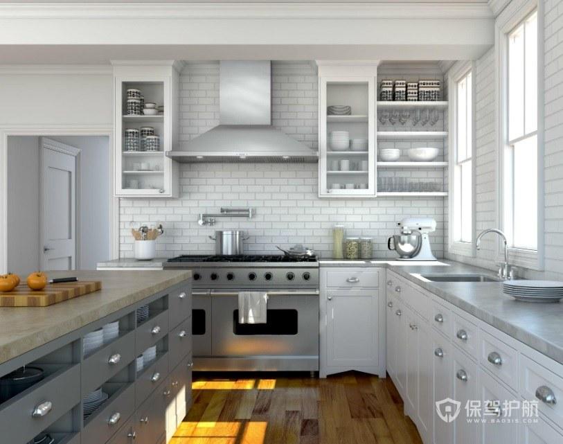 别墅简欧风L型厨房装修效果图