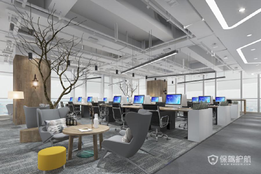 现代工业风开放式办公区装修效果图