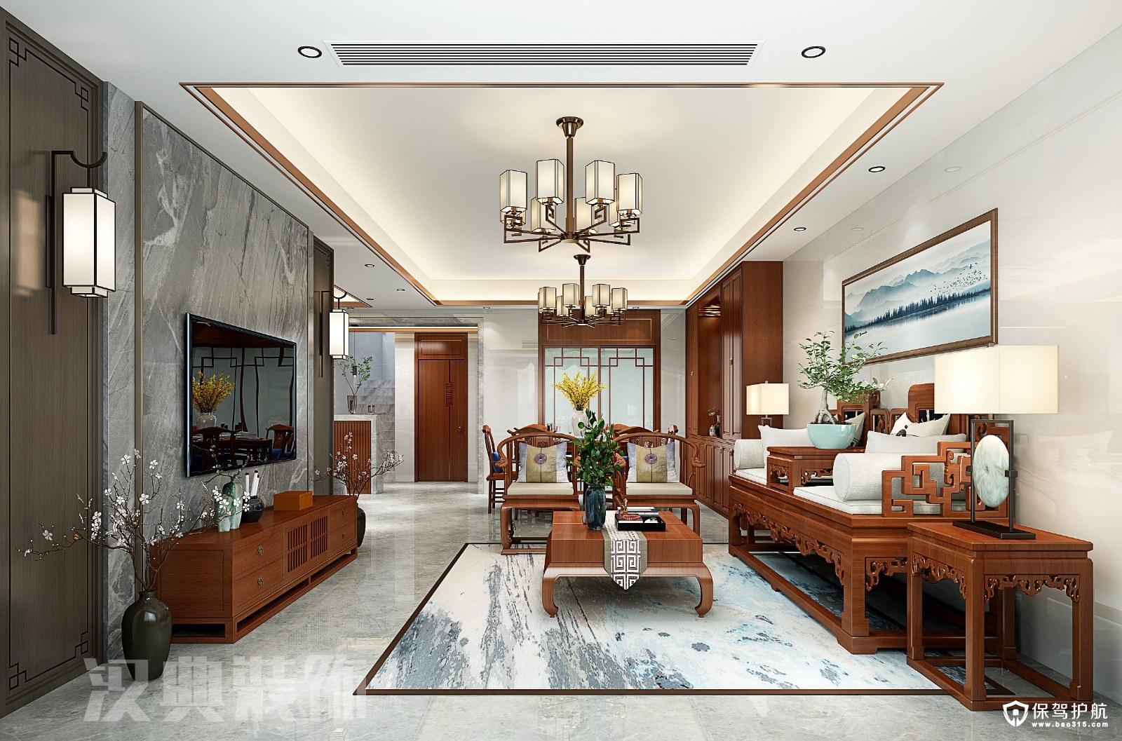 山语城现代中式风格四居室装修效果图