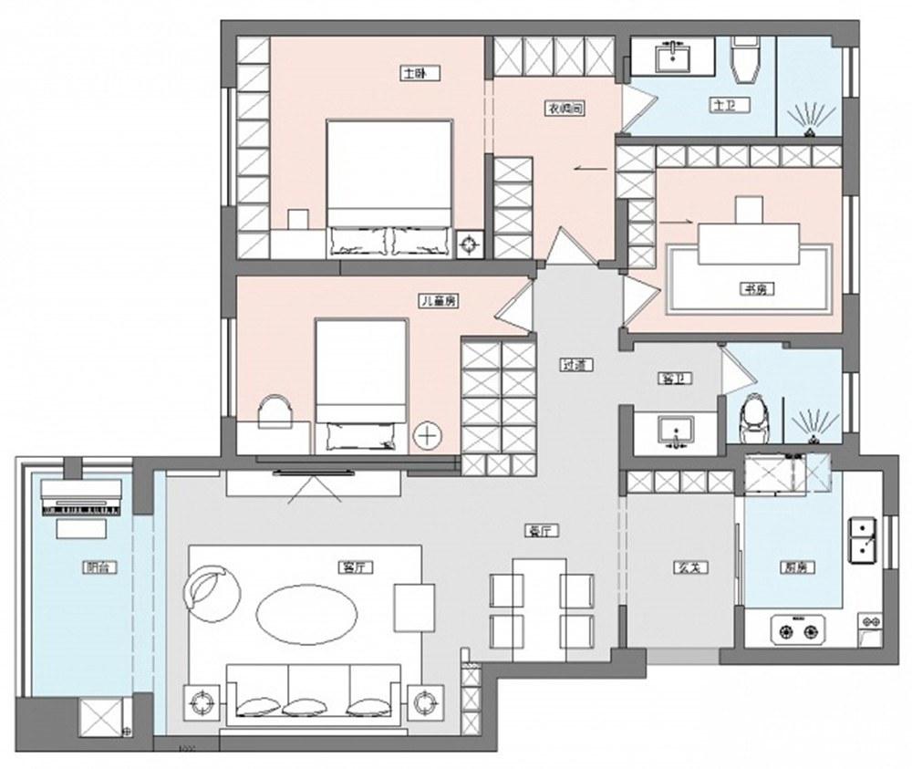 霖峰一号美式风格四室两厅装修效果图