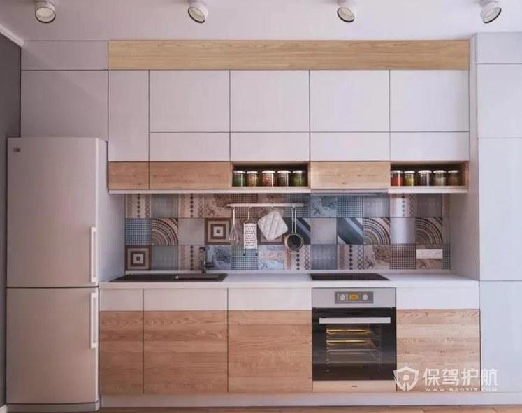 日式简约风一字型厨房装修效果图