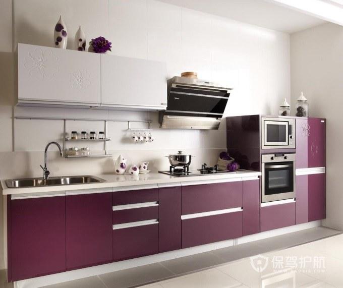 现代韩式风格一字型厨房装修效果图