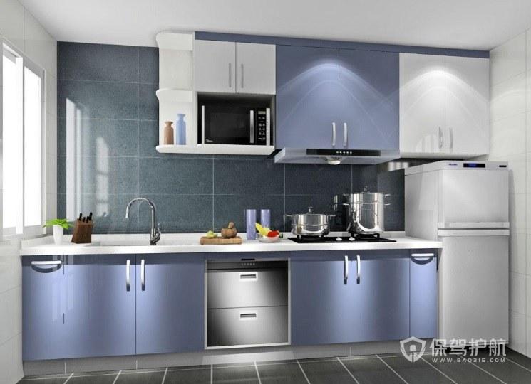 雾霾蓝+白色一字型厨房装修效果图