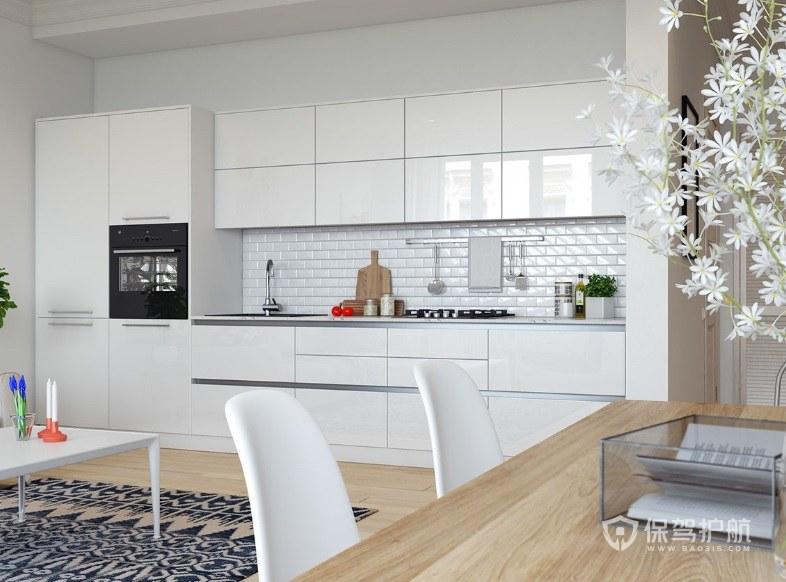 白色系现代风一字型厨房装修效果图