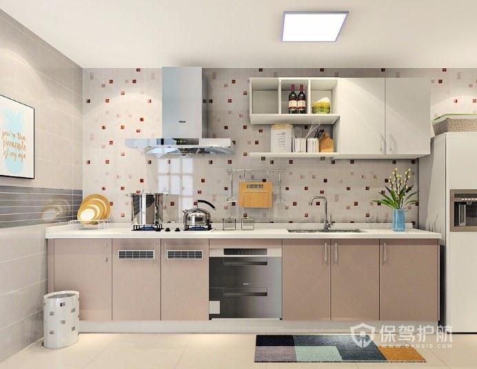 开放式一字型波点墙面厨房装修效果图…
