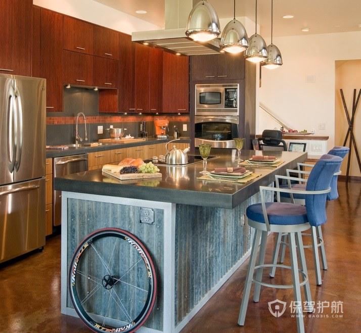 美式复古风一字型厨房装修效果图