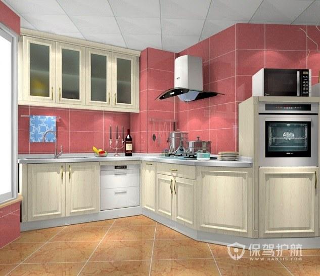 淡黄+粉色系不规则厨房装修效果图
