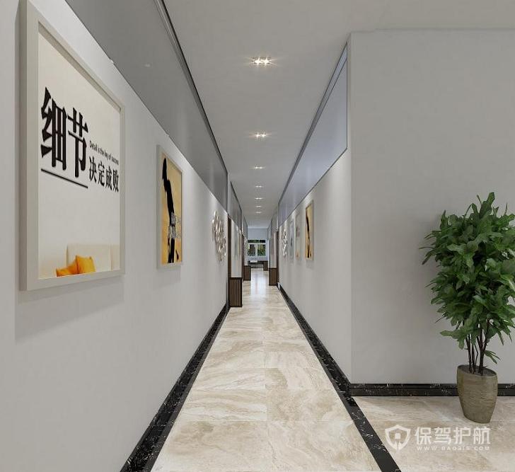 现代风格办公室走廊装修效果图