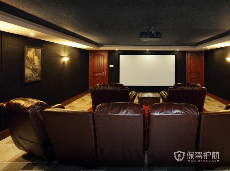 复式风家庭电影院黑色墙面装修效果图