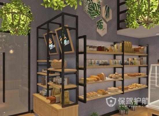 40平法式风格蛋糕店货架装修效果图