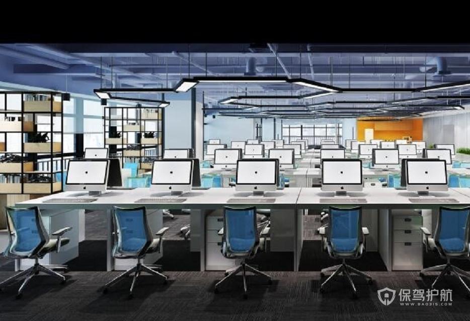 现代工业风办公室办公区装修效果图