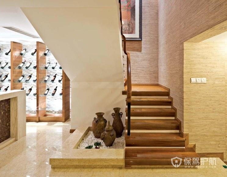 美式溫馨風復式樓L型樓梯裝修效果圖…